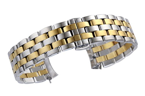 Solid Wrist Watch Two Tone (autulet 16mm Premium Curved End Watch Replacement Wristband Solid Stainless Steel in Two Tone Silver and Gold)