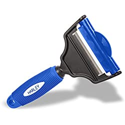 Deshedding Tool & Dog Brush Grooming 2 in 1 Dual Rake for Pets Blue Color - Cat's, Dog's and Horses - Short or Long haired Pets - 3 YEAR WARRANTY