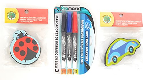 Teaching Tree Cute Mini Magnetic Whiteboard Eraser Bundle - Ladybug And Beetle Car BONUS 1 PACK DRY ERASE MARKERS ()