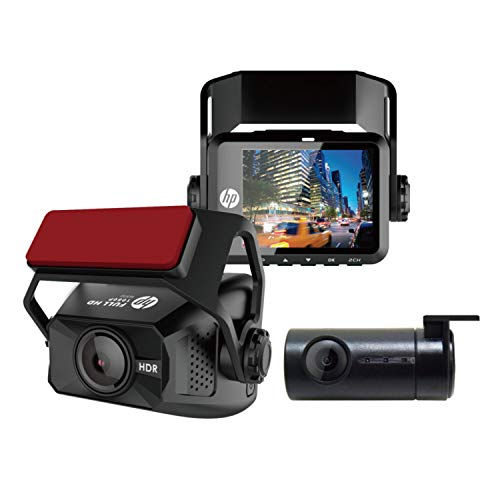 "HP F660G | Dual Dash Cam, Front 1080P Rear 720P, Backup Camera w. Built-in G-Sensor, 2"" LCD Screen 150° Wide Angle, Car Dashboard Loop Recording, Motion Detection Video Camera Driving Recorder"