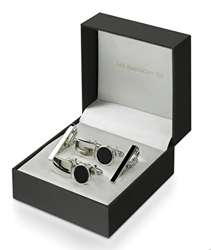 Sport Titanium Cufflinks (Mr. American Tie 2 Piece Tie Clip and Cufflink Set, Two Sets with Gift Box, Black plus Silver Tone (Skinny Width))