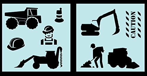 - Auto Vynamics - STENCIL-CONSTRUCTIONSET01-10 - Detailed Construction Equipment Stencil Set - Everything From Dump Trucks to Cranes! - 10-by-10-inch Sheets - (2) Piece Kit - Pair of Sheets
