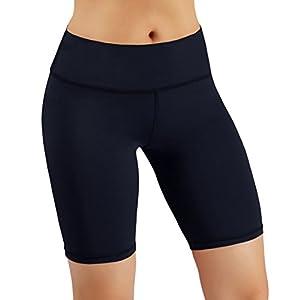 ODODOS Power Flex Women's Tummy Control Workout Running Shorts Pants Yoga Shorts With Hidden Pocket, Navy, Large