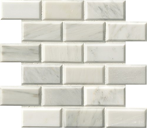 M S International Arabescato Carrara 12 In. X 12 In. Polished Beveled Marble Mesh-Mounted Mosaic Floor And Wall Tile, (10 sq. ft., 10 pieces per case) by MS International