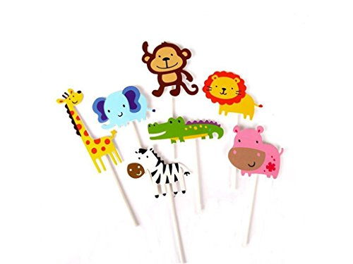 Glorious Year 28-Pack Cute Zoo Animal Cupcake Toppers Picks,Jungle Animals Cake Toppers for Kids Baby Shower Birthday Party Cake Decoration Supplies ()