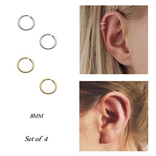 Pamido Hoop Cartilage Earring Fake Earrings Nose Rings Septum Nose Ring Stainless Steel for Women Men Girls Silver Gold