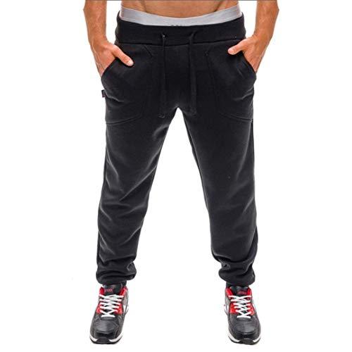 Ropa para Hombre Pantalones Largos Pantalones Vaqueros Sosofish Pantalones Casuales De Color Sólido Ropa para Hombres Y Verano Pantalones Deportivos para Hombres De Color Sólido con Cordones Negro