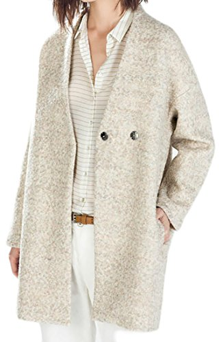 ARRIVE GUIDE Womens Winter Open Front Tweed Wool-Blend Peacoat Overcoat Coat Beige Medium (Tweed Overcoat)