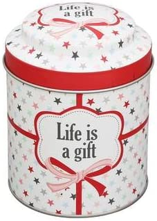Krasilnikoff tarro de galletas tarro de las galletas de caja de metal para té life is a Gift: Amazon.es: Hogar