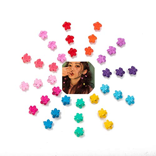 (GUNIANG Colorful Plastic Flower Mini Hair Claw Clips Hair Barrettes Small Kids Hair Accessories for Girls,Toddlers 36Pcs)