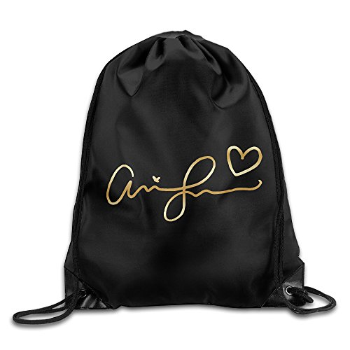 Price comparison product image BYDHX Ariana Grande Signature Gold Logo Drawstring Backpack Bag White