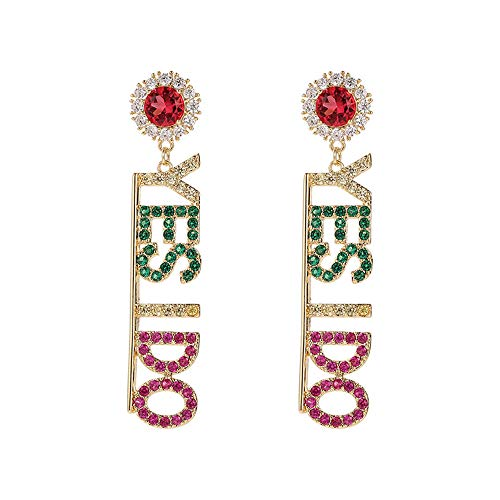 b10cbb326 ... TIMEE YES I DO 925 Sterling Silver Zircon Letters Crystal Drop Long  Dangle Pendant Earrings Wedding