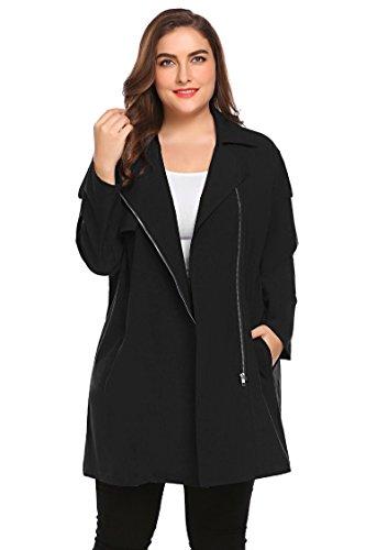 Zeagoo Women Plus Size Asymmetrical Zip Down Casual Light Weight Trench Coat Outdoor Fall Jacket