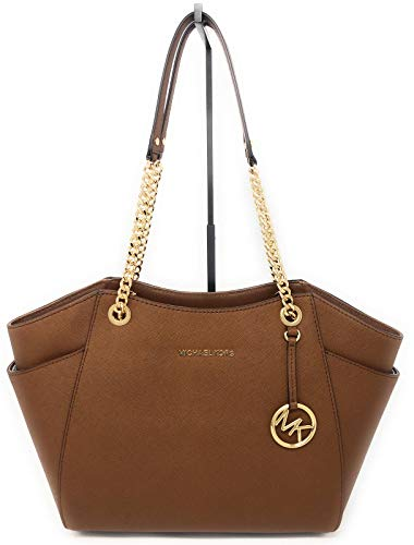MICHAEL Michael Kors Women's Jet Set Travel Saffiano Large Chain Shoulder Tote, Style 35T5GTVT3L (Luggage/Strap ()