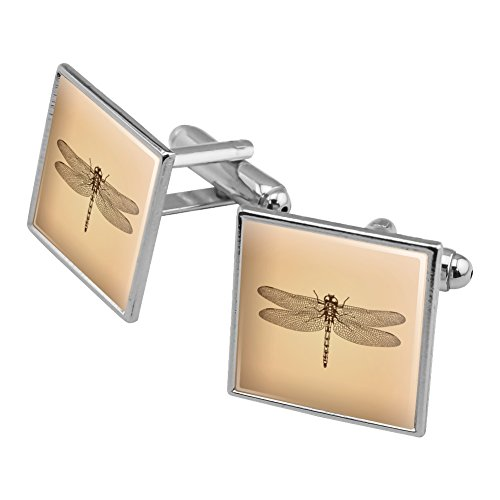Dragonfly Vintage Insect Square Cufflink Set Silver Color (Vintage Square Cufflinks)