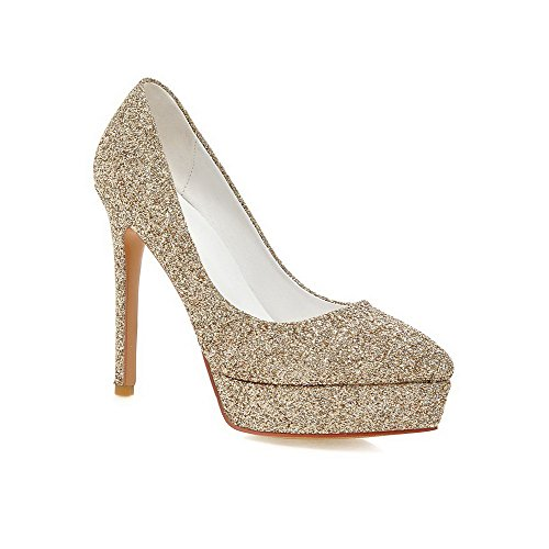 Allhqfashion Donna Materiale Morbido A Punta Chiusa Con Tacchi Alti-scarpe Con Paillettes Oro