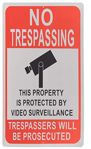 - No Trespassing Sign - Private Property Video Surveillance Legend, Trespassers Will Be Prosecuted Warning, Rust Free Aluminum, Red on White, 18 x 12 Inches