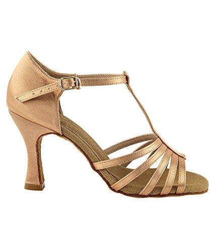 Very Fine Ballroom Latin Tango Salsa Zapatos De Baile Para Mujeres S9273 3-inch Heel + Cepillo Plegable Bundle Tan Satin