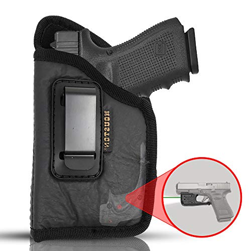 ECO Leather Concealment Holster Inside The Waist with Metal Clip FITS Most MIDSIZES & Compact 9 mm / .40 Cal / .45 Caliber with Laser (Left) (CHP-57GL-LH) (Holster Lh Sr22)