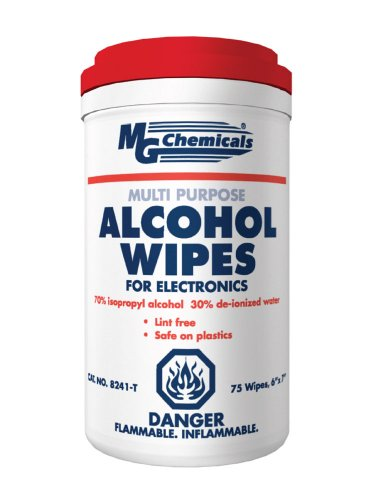 "Price comparison product image MG Chemicals Multi Purpose Alcohol Wipe (70% IPA), 7"" Length x  6"" Width (Tub of 75)"