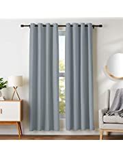 "AmazonBasics Room Darkening Blackout Window Curtains with Grommets - 42"" x 84"", Dark Grey, 2 Panels"