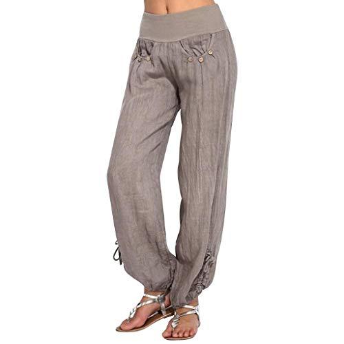 Bootcut Cotton Trousers (HEJANG Women's Yoga Sports Workout Buttons Cotton and Linen Casual Loose Trouser Wide Leg Pants 2019 (XL, Khaki))