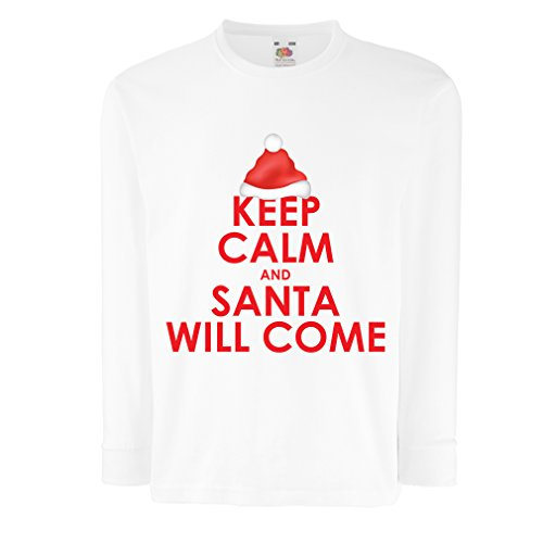 lepni.me T-Shirt for Kids Keep Calm and Santa Will Come, Holiday Clothes and Christmas Vacation Outfits (7-8 Years White Multi Color) ()