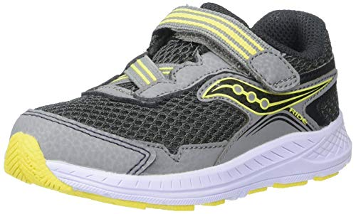 Saucony Boys' Ride 10 JR Sneaker, Grey/Yellow, 9 W US Toddler (Saucony Boy Toddler Shoes)