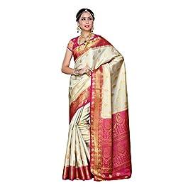 MIMOSA Women's Kanchipuram Art Silk Saree with Unstitched Blouse Piece (225-HWT-RNI_Off-White)