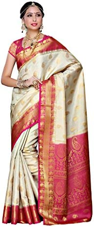 Mimosa Women's Traditional Art Silk Saree Kanjivaram Style With Blouse Color:Off White-S