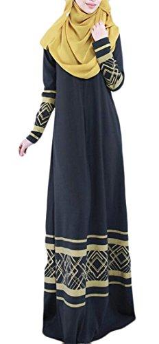 Long Ethnic Abaya Dress Sleeve Muslim Long Printing Women's Black Saudi Cromoncent xZBFq1w4Rc