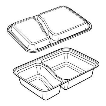 30 OZ. TWO COMPARTMENT WHITE RECTANGULAR VERSATAINER MICROWAVEABLE CONTAINERS WITH CLEAR LID NEWSPRING 150 EA
