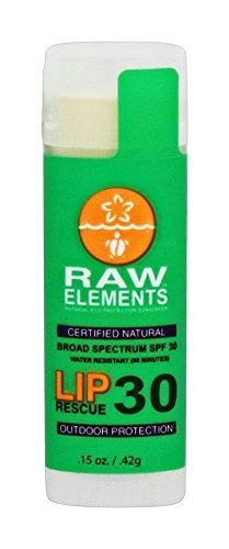 Raw Elements Outdoor Lip Rescue Certified Natural Sunscreen | Non Nano Zinc Oxide, 95% Organic, Very Water Resistant, Reef Safe, Non GMO, Cruelty Free, SPF 30 .15oz (Packaging May Vary) (2 Pack)