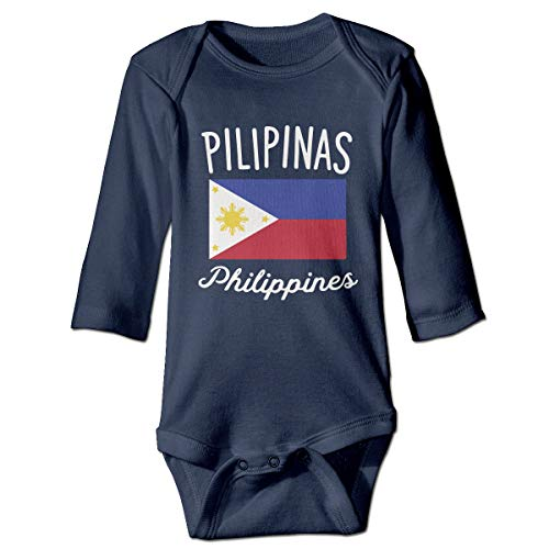A14UBP Baby Infant Toddler Romper Bodysuit Philippines Flag Print Long Sleeve Underwear Babies Navy