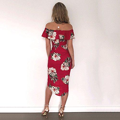 Highdas Mujeres Vestido De Hombro Vestido Floral Imprimir Split Vestidos Mediados De La Rodilla Larga Rojo