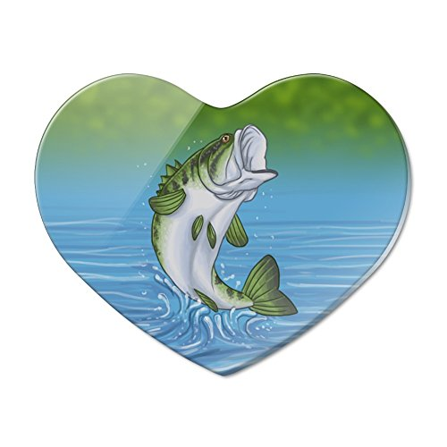 Bass Fish Jumping out of Water Fishing Heart Acrylic Fridge Refrigerator - Fridge Magnet Fish Refrigerator
