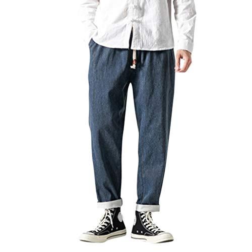 Aleola Men's Casual Plain Jeans Retro Trousers Pant (Blue,XXXL)
