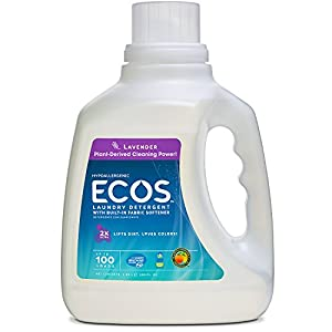Earth Friendly Products Ecos 2x Liquid Laundry Detergent, Lavender, 100-Ounce Bottle (Pack of 2)