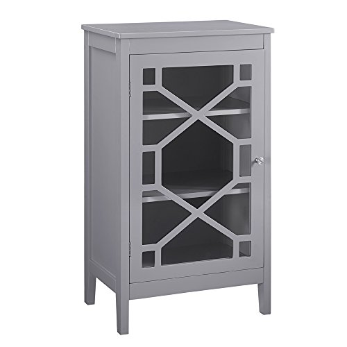 Linon AMZN0288 Nash Gray Single Door Cabinet White
