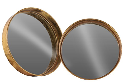 Urban Trends 40742 Metal Round Wall Mirror (Set of 2), Antique Rose Gold