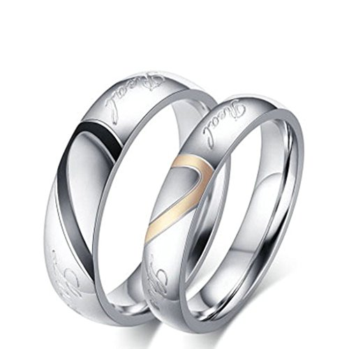 KnBoB Stainless Steel Promise Engagement Rings Couples Real Love Heart Wedding Bands Women US8 & Men