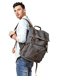 Kattee Vintage Canvas Leather Hiking Travel Backpack Gray