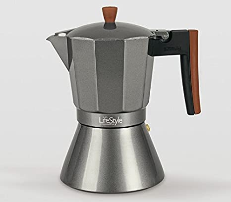 Life Style - Cafetera Express Buon Caffe - Estilo Italiano - 12 Tazas - Aluminio Grafito