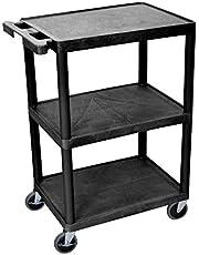 LUXOR STC222-B 3-Shelf Cart, Black