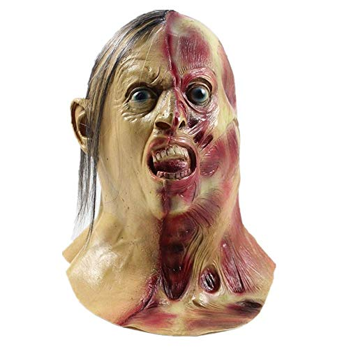 Halloween Horror Vampire Zombie Mask Scary Costume Party Props(Two-Face With Hair) ()
