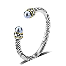 UNY Twisted cable wire cuff bangles imitation pearl bracelet Bangle for women fashion jewelry BR42222
