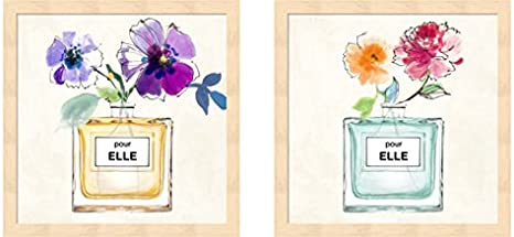 Pour Elle By Michelle Clair 2 Piece Mahogany Framed Art Set 13 X 13 Inches Each Perfume Art Posters Prints