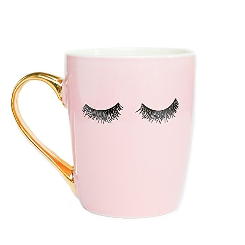 Pink Eyelashes Coffee Mug, Gold Handle Mug, Makeup Mug, Pink Lashes Mug, Eyelash Mug, Mug With Eyelashes, Mugs With lashes, Pink Coffee Cup, Pink Eyelashes Gold Coffee Mug by Sweet Water Decor 16oz