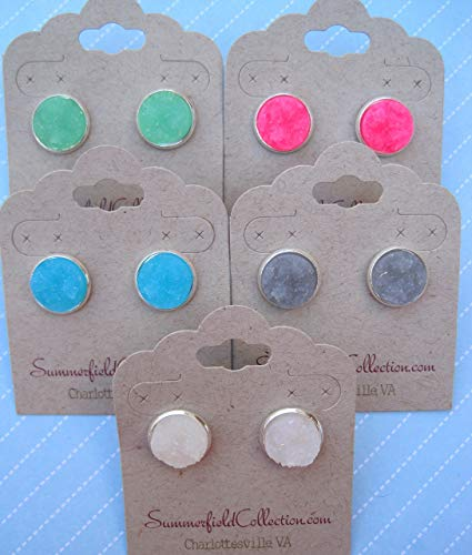 Silver-tone Neon Pink Faux Druzy Stone Stud Earrings 12mm