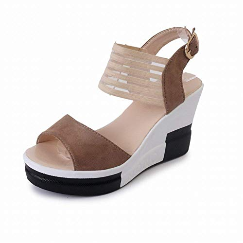 Sandals Shoes alto Spessa Size Slope Colorato Dunkelbrown Oudan Sandali 37 Nero Muffin con With tacco Fish With gTHqWExwR